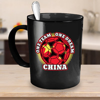China Soccer Coffee Mug 11 or 15oz White or Black Ceramic Cup, Soccer Gift, Chinese Flag, Soccer Gift Idea, Gift for Soccer Player