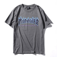 Thrasher New fashion bust  letter flame print couple top t-shirt Gray