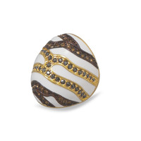 14 Karat Gold Plated White Enamel Ring with Multicolor Crystals