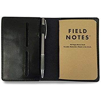 Full Grain Leather Composition Cover Journal for Field Notes Notebooks (Black)