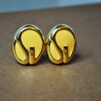 ST. JOHN Vintage Bold Gold Sunny Yellow Enamel SJ Logo Clip Earrings, Fabulous! #A102