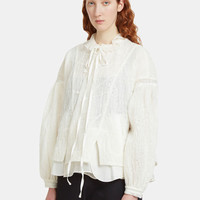Renli Su Padded Button Front Shirt in White | LN-CC