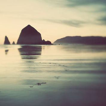 Cannon Beach Photograph, Oregon, Haystack, Landscape, Pacific Ocean, Sea, Sunset, Summer, Nautical, Teal,  Nature - Never Let Me Go