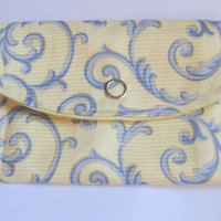 Womens card wallet, girls business card wallets, yellow blue victorian style gift card holder, small coin purse,