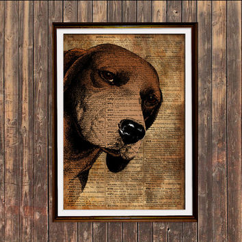 Dog art Beagle print Modern decor Animal poster SH7-2