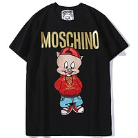 Moschino 2019 early spring limited edition hot stamping letter printing men and women round neck T-shirt top black