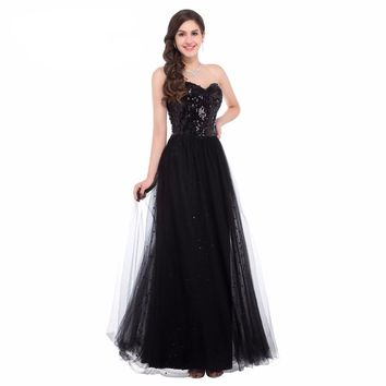 Sequins Long Off Shoulder Formal Ball Gown