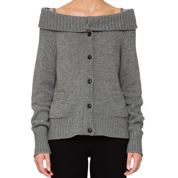 Prada Wool-Cashmere Off-the-Shoulder Cardigan