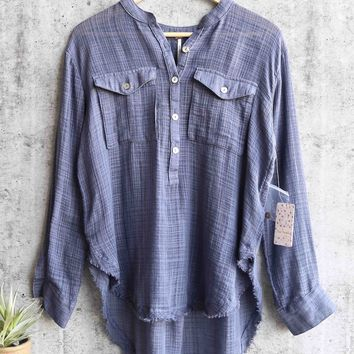 free people - talk to me lightweight gauzy button down - blue