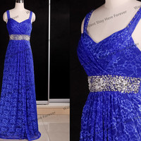 Elegant All Lace Royal Blue Straps Empire Line Beading Waist Key Hole Back Floor Length Long Evening Gown,evening dress,senior prom dress