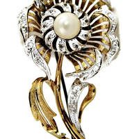 Early Alice Caviness Sterling Silver Brooch Flower with Rhinestones and Pearl Signed