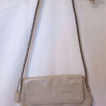 Etienne Aigner Purse Leather Shoulder Bag Tan & Black Woven Strap