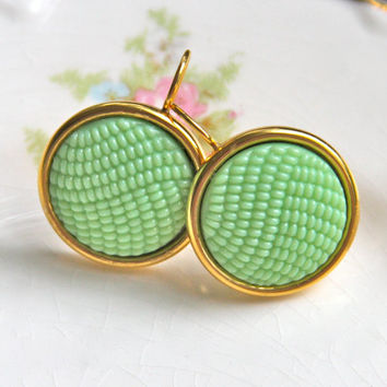 Vintage Mint Green Textured Hobnail Glass Gold Plated Round Drop Dangle Earrings - Wedding, Bridal, Bridesmaid, Beach