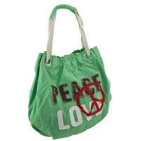 Neon Peace and Love Canvas Tote Bag
