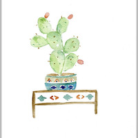 Cactus art print of original watercolor painting, South west inspired, cactus plant in decorative planter, boho chic