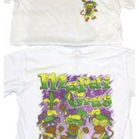 Mardi Gras Long Sleeve T-Shirt w/ Glittered Monkeys Design Large