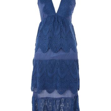 Tiered Lace Midi Dress - Dresses - Clothing