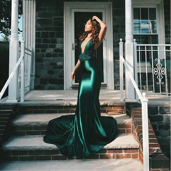 Sexy Sheath Red Satin Dresses Floor Length Evening Party Dress Off The Shoulder DIY Strap Bodycon Backless Evening Deep-V Dress
