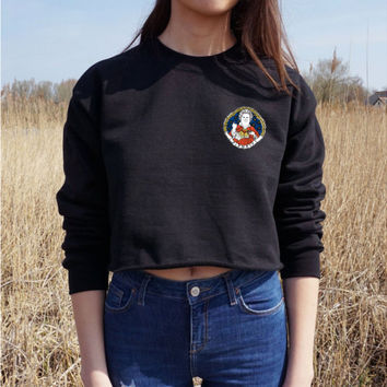 Embroidery Patched Raw Hem Sweatshirt