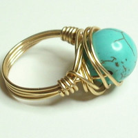 Turquoise and Gold Wrapped Ring