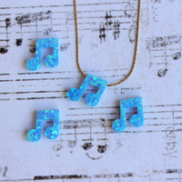 Music note opal necklace, light blue opal charm pendant, dainty 14K gold filled chain, minimalist music jewellery, layering necklace