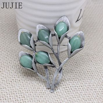 JUJIE Classic Natural Stone Flower Pins Brooches  For Women Fashion Bijoux Vintage Plant Tree Brooch For Creative Christmas Gift