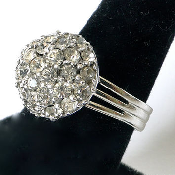 Pennino Rhinestone ring.  Sterling Silver 925 Italy Italian. Adjustable.