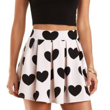 Heart Print Pleated Skater Skirt by Charlotte Russe - Black Combo