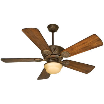 Craftmade K10510 Chaparral Aged Bronze Ceiling Fan with 54-Inch Premier Distressed Oak Blades and Outdoor Bowl Kit