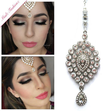 silver Tikka Hair tikka indian jewelry kundan maang hijab pin wedding jewellery hijab jewels headpiece matha sadiiyah gift MadZFashionZ