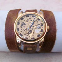 Stylish Retro Leather Band Manual-Winding Mechanical Skelton Gold Watch. 20% Off - 79 Dollars Only  FREE SHIPPING