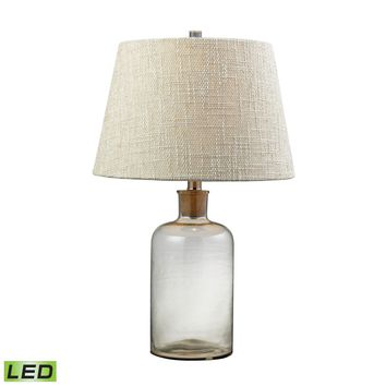 Clear Glass Bottle LED Table Lamp With Cork Neck Clear