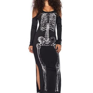 Side slit skeleton cold shoulder dress in BLACK/WHITE