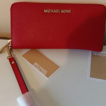 Genuine Michael Kors Red Wristlet Saffiano Leather Jet Set Travel Purse Wallet