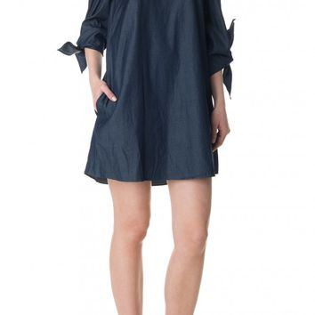 Tibi Dark Denim Off-the-Shoulder Dress
