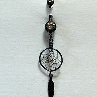 All Black Dreamcatcher Belly Button Ring - Feather