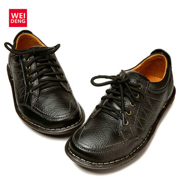 WeiDeng 2016 New Soft British Look Genuine Leather Shoes Lace Up Diabetic DM Foot Fashion Men Toe Shoes Layer Trend Diabetes