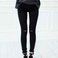 Black Skinny Jeans With Rips