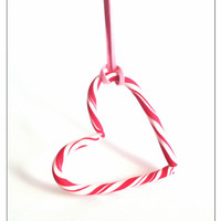 Peppermint Candy Cane Heart Charm, Christmas Gifts, Polymer Clay Jewelry, Heart Necklace, Stocking Stuffer, December Gifts, Christmas Sale