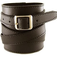 Neptune Giftware Soft Dark Brown Leather Wide Cuff Wrap Around Wristband Bracelet Buckle Fastening - 08