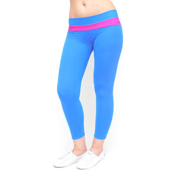 Capri yoga pants blue crop leggings low rise yoga pants