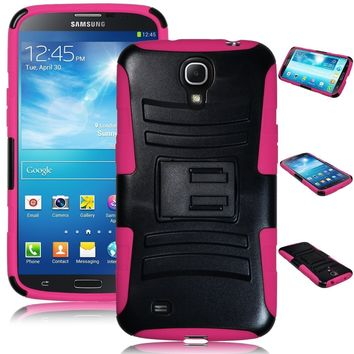 Samsung Galaxy Mega 6.3 Case, Rugged Hybrid Triple Layer Holster Shell Combo Case [Kickstand and Clip] for Galaxy Mega 6.3 - Hot Pink