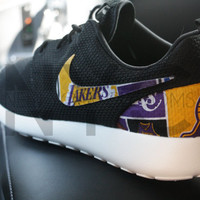 Los Angeles Lakers Nike Roshe Run Black Custom