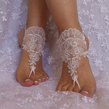 Free ship bridal anklet, ivory lace anklet, Beach wedding barefoot sandals, bangle, wedding anklet, anklet, bridal, wedding