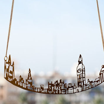 Gold London Necklace, London Cityscape Necklace, City Skyline, Statement Necklace, Cityscape Necklace