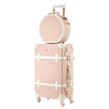 Vintage Rolling Luggage Set With Handbag,Women High-quality Wood +PU leahter Travel Suitcase Cosmetic Bag,Wheel Trolley Case Box