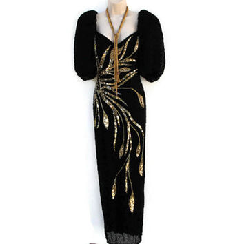 Vintage 80's Black Silk Lined Gold Hand Beaded Sequin Art Deco Inspired Long Floor Duster Evening Gown Cocktail Dress sz 10, 12