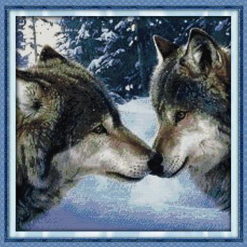 The kiss of wolves Cotton Animal cross stitch kits 14ct white 11ct printed embroidery DIY handmade needle work wall home decor