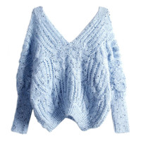 Light Blue Double V-neck Open Knitted Sweater