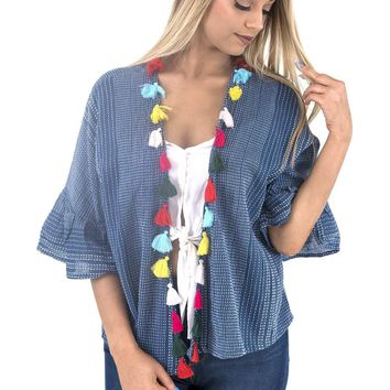 Women's Short Striped Kimono with Ruffled Bell Sleeves